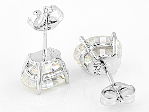 White Lab Created Strontium Titanate 14k White Gold Earrings 3.12ctw
