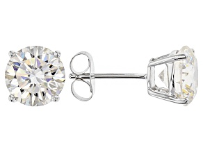 White Lab Created Strontium Titanate Solitaire14k White Gold Earrings 3.48ctw