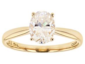 White Fabulite Strontium Titanate 14k Gold Solitaire Ring 1.56ct