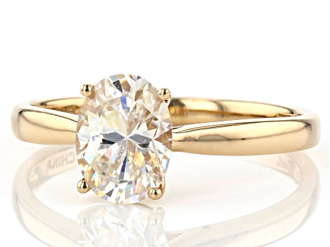 White Lab Created Strontium Titanate 14k Gold Solitaire Ring 1.56ct