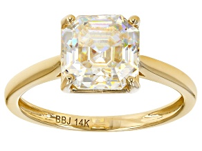 White Fabulite Strontium Titanate 14k Gold Solitaire Ring 3.29ct