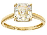 White Lab Created Strontium Titanate 14k Gold Solitaire Ring 3.29ct