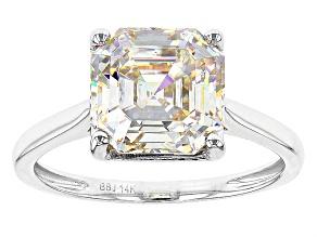 White  Fabulite Strontium Titanate 14k White Gold Ring 4.72ct