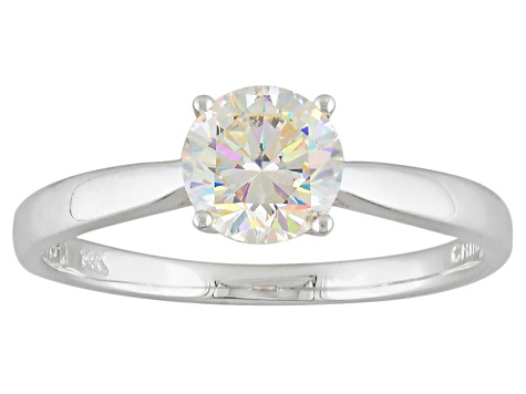 White Lab Created Strontium Titanate 14k White Gold Ring 1.13ct