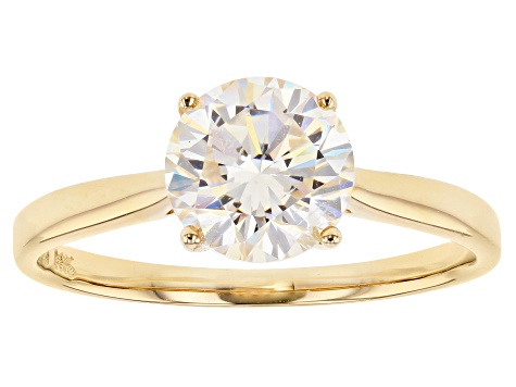 White Lab Created Stronitium Titanate 14k Gold Ring 2.60ct