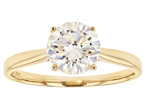 White Fabulite Stronitium Titanate 14k Yellow Gold Ring 2.60ct