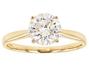 White Fabulite Stronitium Titanate 14k Yellow Gold Ring 2.60ct