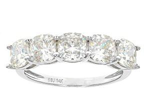 White Fabulite Strontium Titanate 14k White Gold Ring 3.92ctw