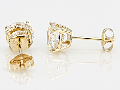 White Strontium Titanate 14k Yellow Gold Earrings 3.27ctw.