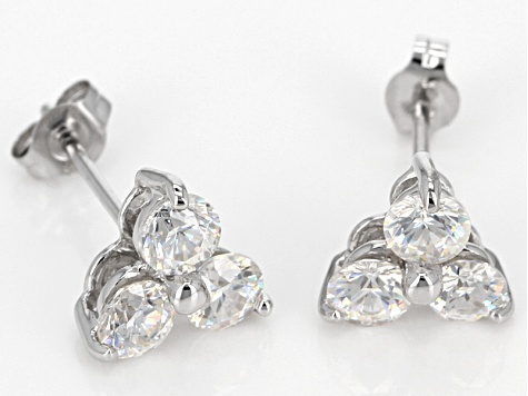 White Fabulite Strontium Titanate 10k White Gold Earrings 1.47ctw.