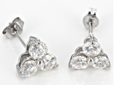 White Lab Created Strontium Titanate 10k White Gold Earrings 1.47ctw.