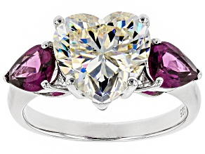 Fabulite Strontium Titanate and Grape Color Garnet Rhodium Over Silver Ring 7.06ctw.