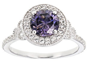 Purple Fabulite Strontium Titanate And White Zircon Rhodium Over Silver Ring 2.63ctw