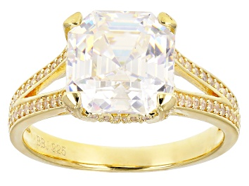 Picture of White Fabulite Strontium And White Zircon 18k Yellow Gold Over Silver Ring 6.22ctw