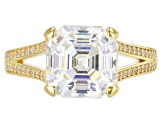 White Fabulite Strontium And White Zircon 18k Yellow Gold Over Silver Ring 6.22ctw
