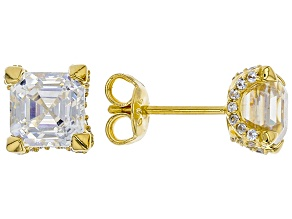 White Fabulite Strontium And White Zircon 18k Yellow Gold Over Silver Earrings 3.74ctw