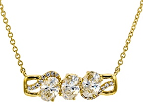 White Fabulite Strontium And White Zircon 18k Yellow Gold Over Silver Necklace 3.17ctw