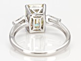 Fabulite Strontium Titanate And White Zircon Rhodium Over Silver Ring 3.30ctw