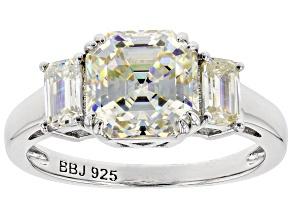 Fabulite Strontium Titanate  Rhodium Over Silver Ring 4.14ctw