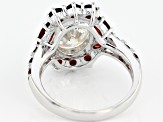 Fabulite Strontium Titanate And Red Garnet Rhodium Over Silver Ring 6.08ctw