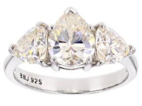 Fabulite Strontium Titanate Rhodium Over Silver Ring 3.84ctw