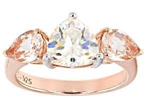 Fabulite Strontium Titanate And Morganite 18K Rose Gold Over Silver 3.40ctw
