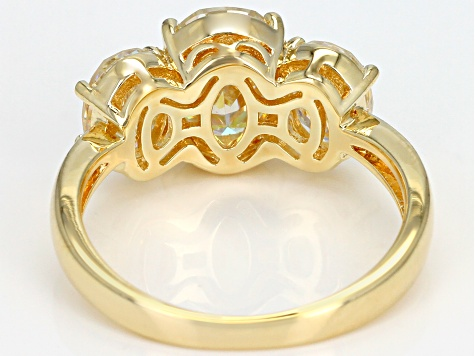 Fabulite Strontium Titanate 18k yellow gold over sterling silver ring 4.91ctw.