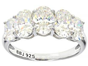Fabulite Strontium Titanate rhodium over sterling silver 5 stone ring 4.79ctw.