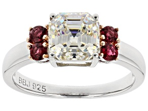Fabulite Strontium Titanate And Red Spinel Rhodium Over Sterling Silver Ring 3.00ctw.
