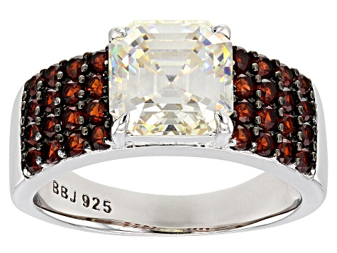 Fabulite Strontium Titanate and red garnet rhodium over sterling silver ring 4.63ctw