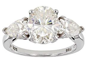 Fabulite Strontium Titanate Rhodium Over Sterling Silver Ring 5.59ctw.