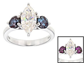 Fabulite Strontium Titanate And Lab Created Alexandrite Rhodium Over Silver Ring 3.77ctw.