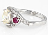 Fabulite Strontium Titanate And Mozambique Ruby With White Zircon Rhodium Over Silver Ring 2.27ctw.