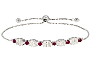 Fabulite Strontium Titanate And Mozambique Ruby  Rhodium Over Silver Adjustable Bracelet 6.70ctw.