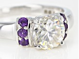 Fabulite Strontium Titanate And African Amethyst Rhodium Over Silver Ring 2.19ctw