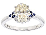 Fabulite Strontium Titanate And Blue Sapphire Rhodium Over Silver Ring 2.70ctw