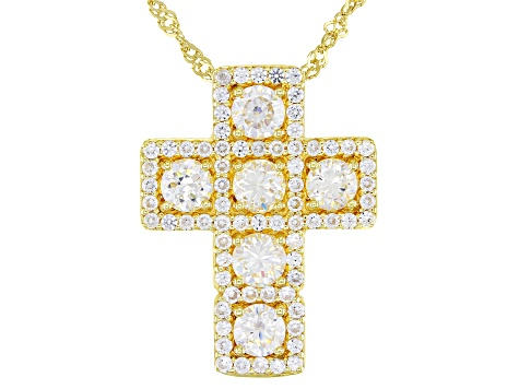 Fabulite Strontium Titanate And White Zircon 18K Yellow Gold Over Silver Cross Necklace 2.64ctw.