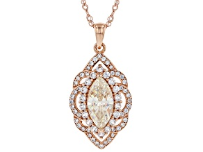 Fabulite Strontium Titanate and white zircon 18k rose gold over sterling silver pendant 4.71ctw.