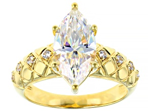 Fabulite Strontium Titanate and White Zircon 18k Yellow Gold Over Silver Ring 3.62ctw.