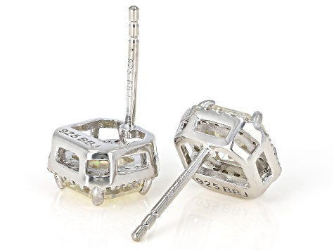 Fabulite Strontium Titanate and white zircon rhodium over sterling silver earrings 3.04ctw.