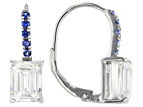 Fabulite Strontium Titanate and blue sapphire  rhodium over sterling silver earrings 4.35ctw.