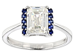 Fabulite Strontium Titanate and blue sapphire rhodium over sterling silver ring 2.28ctw.