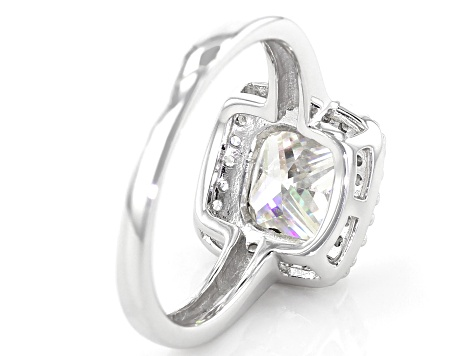 Fabulite Strontium Titanate and white zircon rhodium over silver ring 3.43ctw.