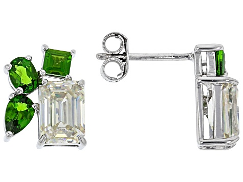 Fabulite Strontium Titanate and chrome diopside rhodium over sterling silver earrings 3.53ctw.