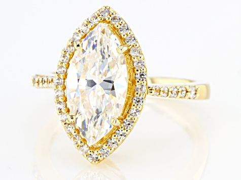 Fabulite Strontium Titanate with white zircon 18k yellow gold over silver ring. 3.81ctw.