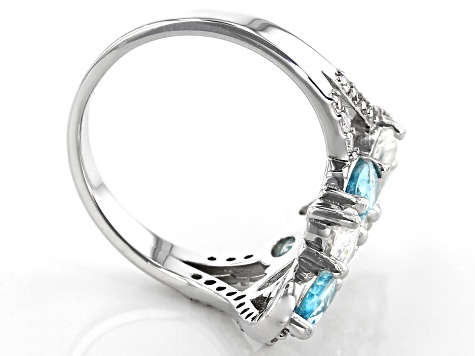 Fabulite Strontium Titanate with white and blue zircon rhodium over sterling silver ring 5.31ctw.