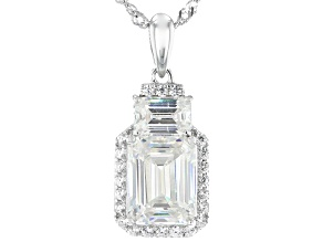 Fabulite Strontium Titanate and white zircon rhodium over sterling silver pendant 4.26ctw