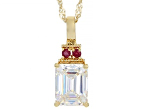 Fabulite Strontium Titanate and Mahaleo Ruby 18k yellow gold over sterling silver pendant 3.36ctw.
