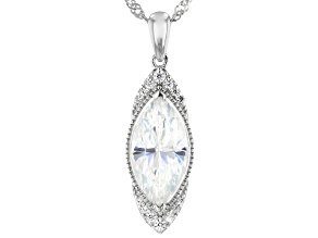 Fabulite Strontium Titanate and white zircon rhodium over sterling silver pendant 3.61ctw.