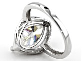 Fabulite Strontium Titanate And White Zircon Rhodium Over Sterling Silver Ring 3.65ctw